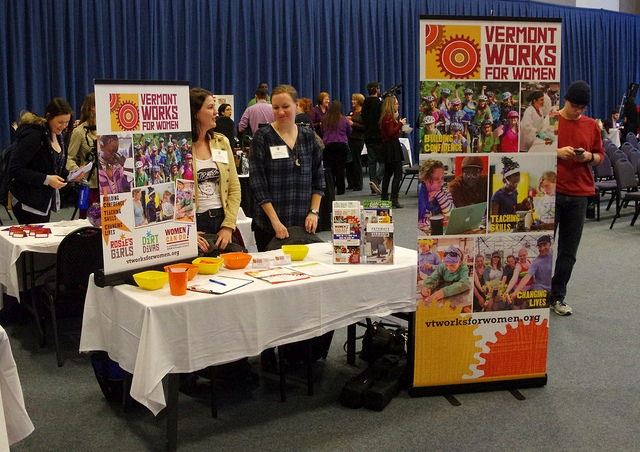 vermont works for women career fair booth