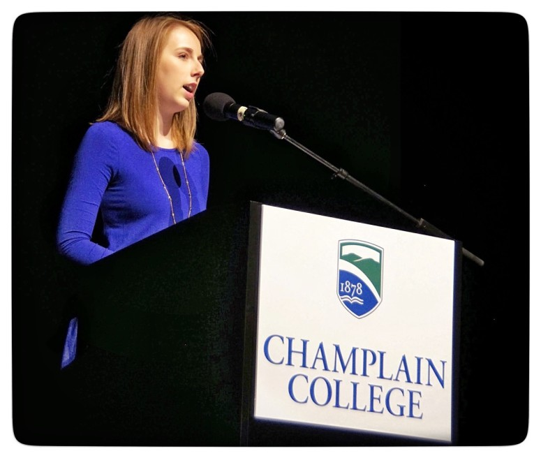 champlain college speaker at podium, storytelling