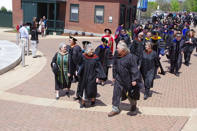 The procession of professors to begin the ceremony for graduation 2016